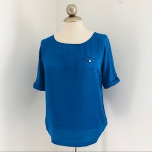 The limited silky blue dressy half sleeve blouse